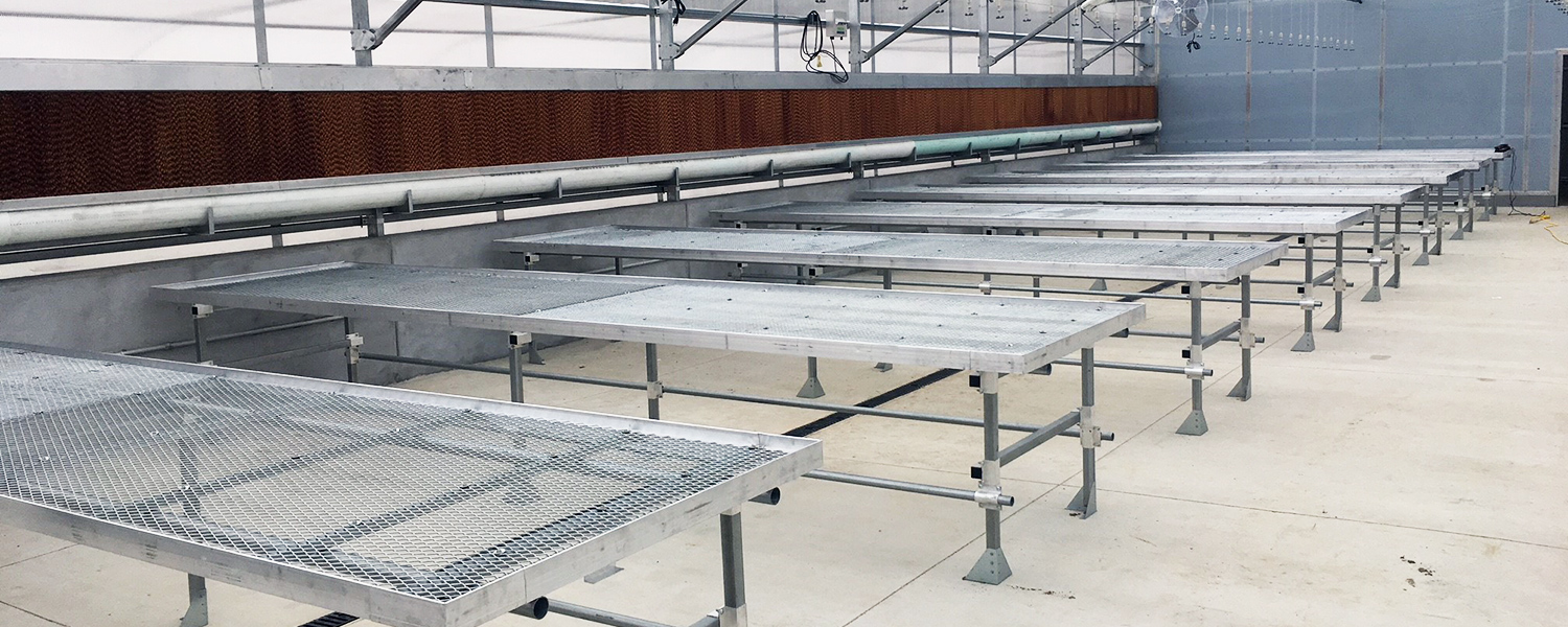 Greenhouse equipment benches heat shade systems
