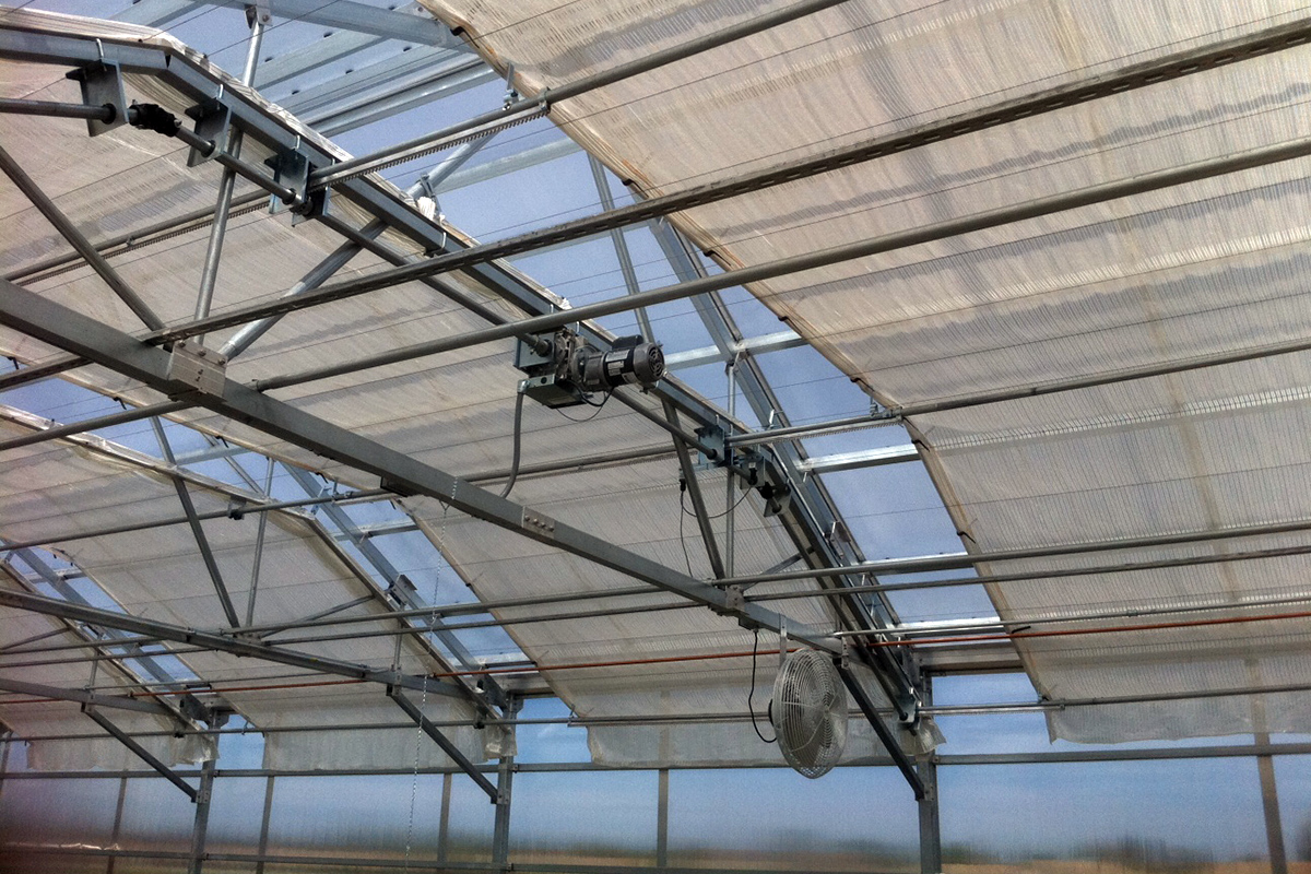 Motorized Interior Shade System Greenhouse Cooling