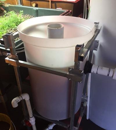 Swirl clarifier aquaponics fish tank waste filter